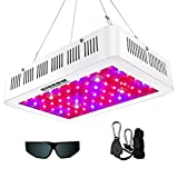 HIGROW 600W Double Chips LED Grow Light Full Spectrum Grow Lamp with Glasses and Rope Hanger for Indoor Greenhouse Hydroponic Plants Veg and Flower