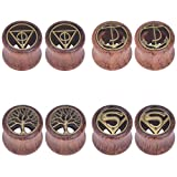 IPINK-4 Pairs Tree of Life Anchor Hallows Organic Wood Tunnels Double Flared Ear Stretcher Saddle Plugs Gauge 8mm - 20mm (4 Pairs of 20mm (3/4''))