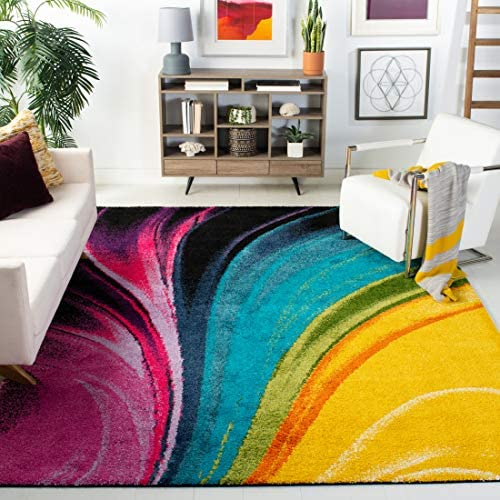 Safavieh Fiesta Shag Collection FSG372M Multicolored Area Rug 9 x 12