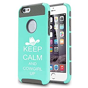 Apple iPhone 5c Shockproof Impact Hard Case Cover Keep Calm And Cowgirl Up (Teal)