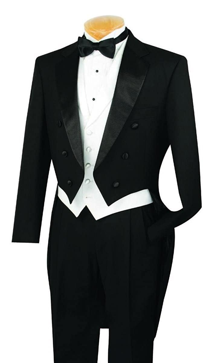 1920s Men's Suits History VINCI Mens Classic Fit Tuxedo With Tails & White Vest T-2X $130.99 AT vintagedancer.com