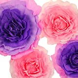 pink and purple crepe paper - Memory Journey Handcrafted Flowers,Large Crepe Paper Flowers(Pink and Purple flower, Set Of 4) For Wedding Backdrop, Baby Nursery Home Decor, Birthday Party, Photo Backdrop,Nursery Wall,Archway Decor