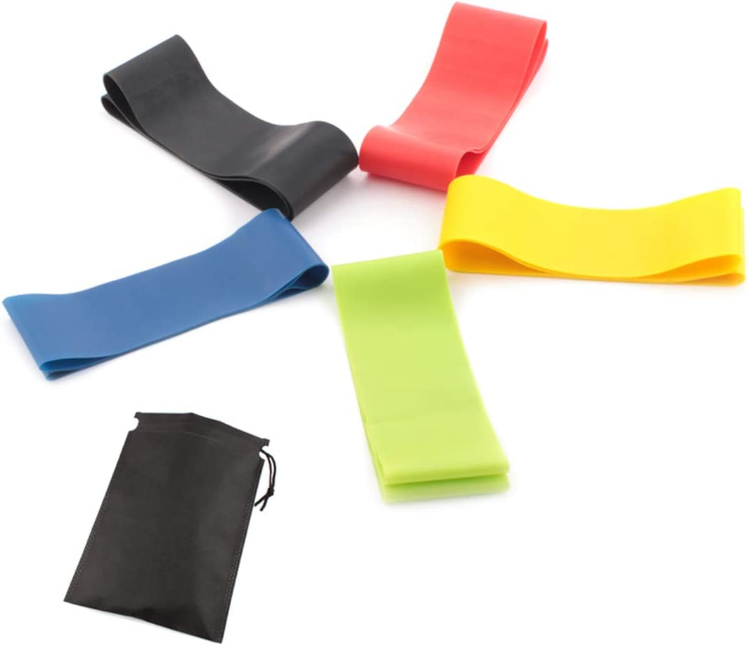 Set di 5 Allenamento di Forza COOLGIRL Bande Fitness Resistenza Yoga Fasce di Resistenza Terapeutiche Fisioterapia e Riabilitazione Bande Fitness di Alta qualit/à per Pilates