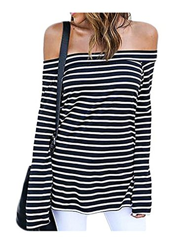 Stripe Casual Shirt (LuckyMore Women's Fitted Off Shoulder Belled Long Sleeve Striped Shirts Casual Top Blouse (XL,Black))