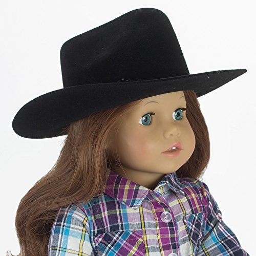 Sophia's Black Cowgirl Doll Hat for The 18 Inch Horse Riding American Girl! 18 Inch Doll Black Velvet Cowgirl Hat w/ Decorative Rope on - Ranch Clothes Boys