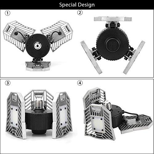 Led Deformable Radar Garage Light Motion Activated Ceiling: Deformable Lamp, Indoor Light 6000LM, High Intensity