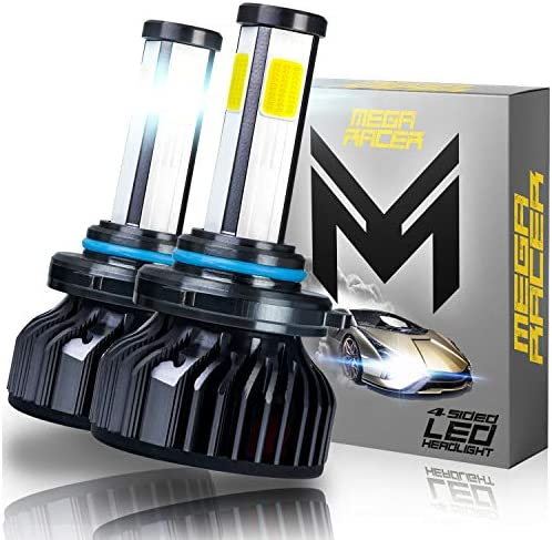 Mega Racer 4 Sided 9005/H10/HB3 LED Headlight Bulb - 60 Watt 6000K Diamond White 10000 LM COB IP68 Waterproof Rating, 2 Pieces