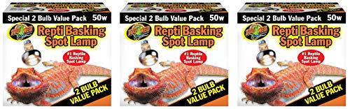 Basking Spot Lamp 2 Bulb - Zoo Med Reptile Basking Spot Lamp 50 Watt - 6 Bulbs Total (3 Packs with 2 per Pack)