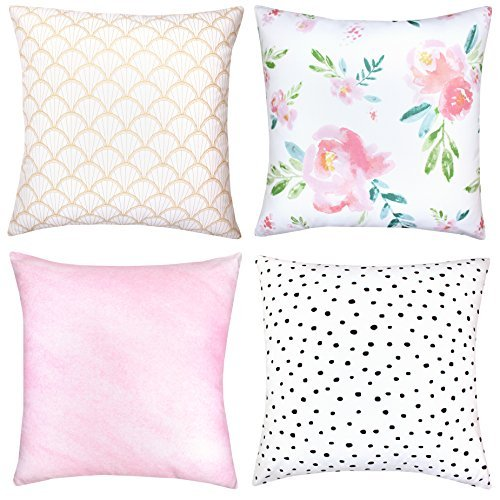 Woven Nook Decorative Throw Pillow Covers ONLY for Couch, Sofa, or Bed Set of 4 18 x 18 inch Modern Quality Design 100% Cotton Floral Polkadot Gold Metallic Pink Adelaide Set (Ikea Floral Throw Pillow)