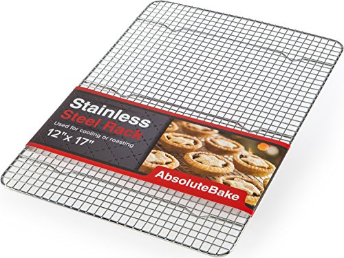 AbsoluteBake Cooling Rack Stainless Steel Oven and Dishwasher Safe Fits in Half Sheet Cookie Pan by AbsoluteBake