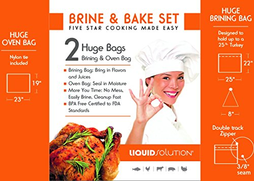 Brining and Oven Bag Combo Extra Large BPA Free 1 Oven Bag & 1 Brining Bag for Turkeys and large cuts of meat. Tested to FDA Food Standards. Built with Thick Materials and Seams ()