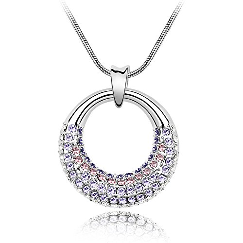 Women's Beautiful Water Wave Necklace with Silver Moon Crystal Pendant (Violet / Clear Crystal) ()