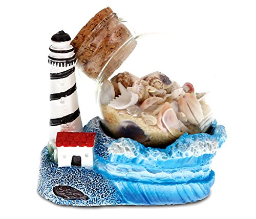 CoTa Global Resin Lighthouse Miniature with Seashells in a Bottle, 3 Inch Intricate & Meticulous Art Figurine Decorative Tabletop Sculpture Centerpiece Snow Globe Nautical Beach Themed Home Décor