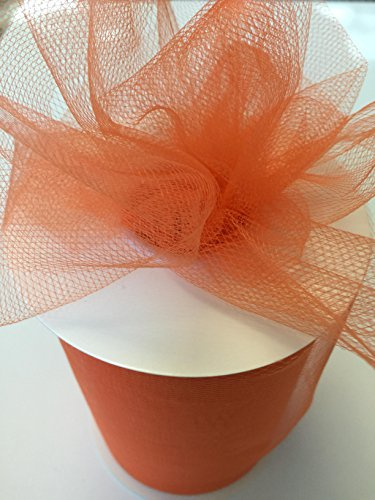 Tulle Fabric Spool/Roll 6 inch x 100 yards (300 feet), 34 Colors Available, On Sale Now! (orange) ()