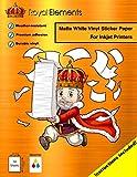 Royal Elements Waterproof Sticker Printer Paper - 10 Premium 8.5'' x 11'' Printable Vinyl Full Label Sheets - Inkjet (Matte White)