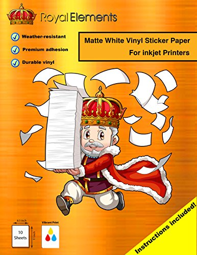 Royal Elements Waterproof Printable Vinyl Sticker Paper for Inkjet Printer - 10 Sheets - Matte White
