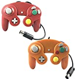 Crifeir 2 Pack Wired Controller for GameCube NGC Wii Video Game (Orange and Red)