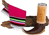 Mexican Artisan Leather Texan Boot Shot Glass Mini Size by El Paso Designs (1-Pack, Assorted) (Tribal Boot)