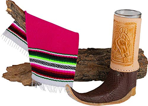 Mexican Artisan Leather Texan Boot Shot Glass Mini Size by El Paso Designs (1-Pack, Assorted) (Tribal Boot) -