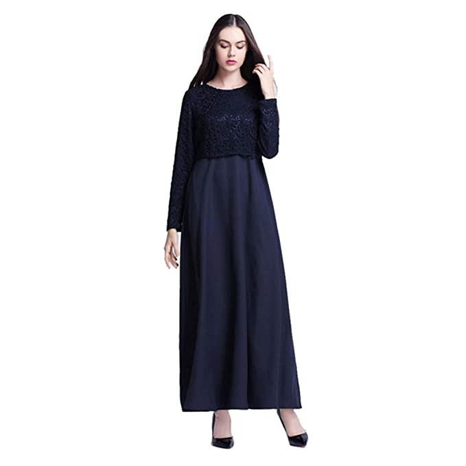 6d6f9508e649 Womens Muslim Kaftan Abaya Maxi Dress Elegant Lace Cocktail Party Evening  Gown Long Sleeve Solid Ethnic