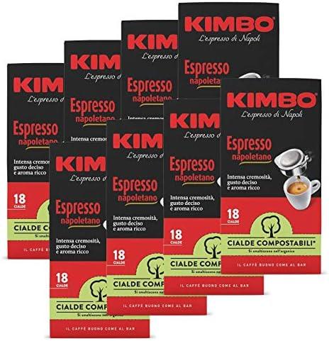 Kimbo Cialde Caffè Compostabili ESE Espresso Napoletano – 8 Pacchi da 18 Cialde (Totale 144 Cialde)
