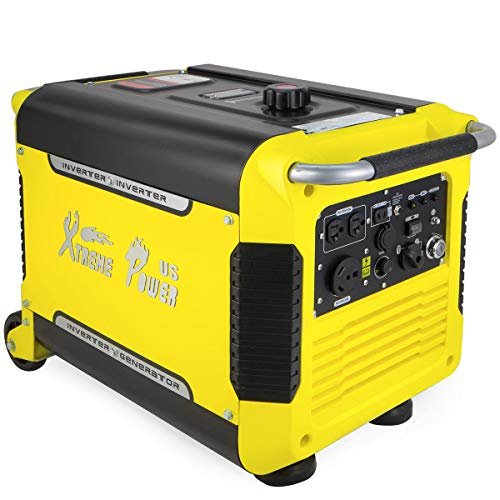 XtremepowerUS Super Quiet 3000 Watt Digital Inverter Powered Generator Camping Gas Power Generator Electric Key Start (USB Outlet) w/Wheels ()