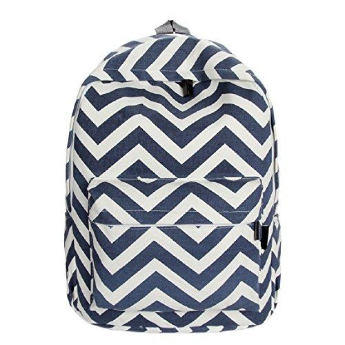 Malloom®chica doble-hombro dulce raya lona mochila Bolsa para la escuela (azul) azul