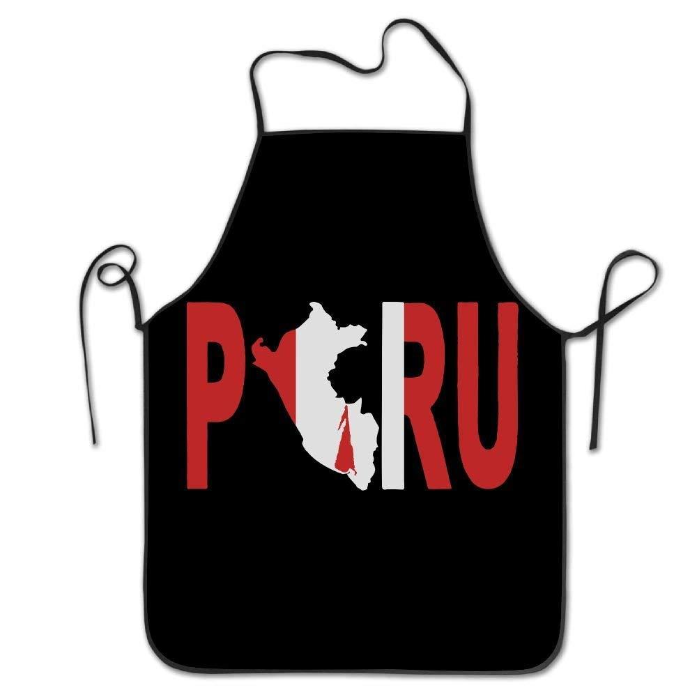amiuhoun PERU ペルー国旗 レディース メンズ キッチン ビブエプロン Barbershopシェフ 調節可能なネックシェフエプロン   B07GQYX8DN
