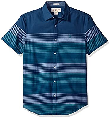 Original Penguin Men's Short Sleeve Engineered Stripe with Spade Pocket in Lawn
