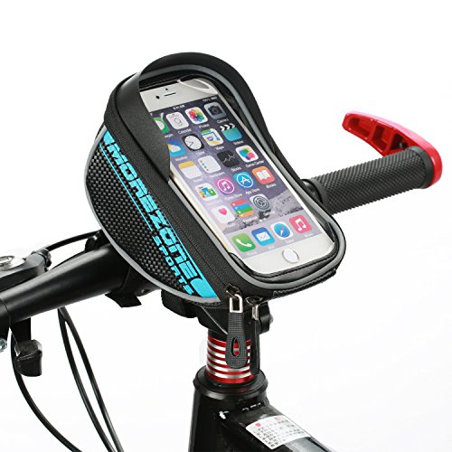 Bike Bag, MOREZONE Cycling Bicycle Frame Bags Phone Mount Holder For Cellphone Below 5.5 inch Top Tube Handlebars Bag