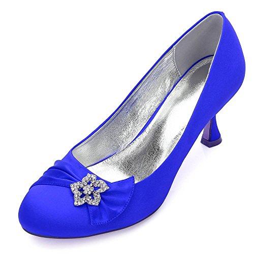 Bal Femmes chaussures Personnalisé De Plat Blue yc Mariage Chaussures 30 Avec F17061 Des Et Cristal Toe Round Satin L PSaTO14qwP