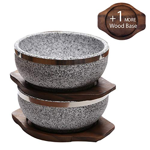 (KoreArtStory Dolsot-Bibimbap Stone Bowls 32-Oz(Set of 2 + Wood base 1 More + Bibimbap Recipe) Cooking Korean Soup and Food)