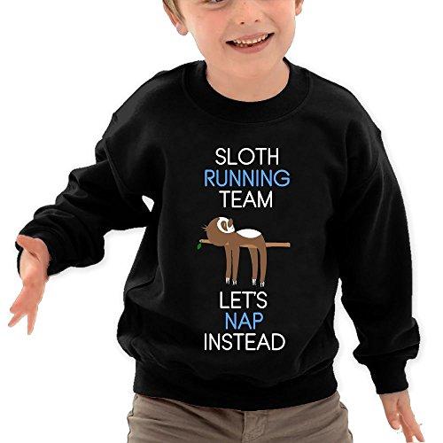 Puppylol Sloth Running Team Kids Classic Crew-Neck Pullover Sweatshirt Black 2 Toddler