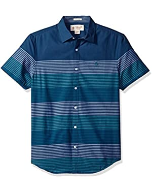 Men's Short Sleeve Engineered Stripe with Spade Pocket in Lawn