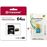Transcend High Endurance 64GB microSDXC Card with SD Adapter,microSD Card Reader and PVC Pouch(TS64GUSDXC10V)