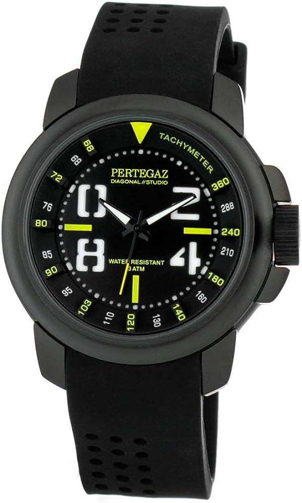Pertegaz Reloj Analógico para Hombres de Cuarzo con Correa en Caucho PDS-038-A