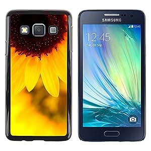 Flor amarillo del sol - Metal de aluminio y de plástico duro Caja del teléfono - Negro - Samsung Galaxy A3