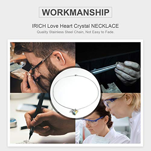 IRICH Infinity Love Heart Pendant Necklace for Women Silver Chain Birthstone Crystal Jewelry Gifts for Women Girls