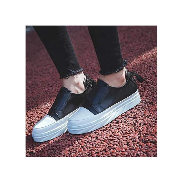 Zhznvx Scarpe Da Donna Pelle Bovina Primavera amp; Estate Comfort Sneakers Tacco Piatto Punta Tonda Bianco nero