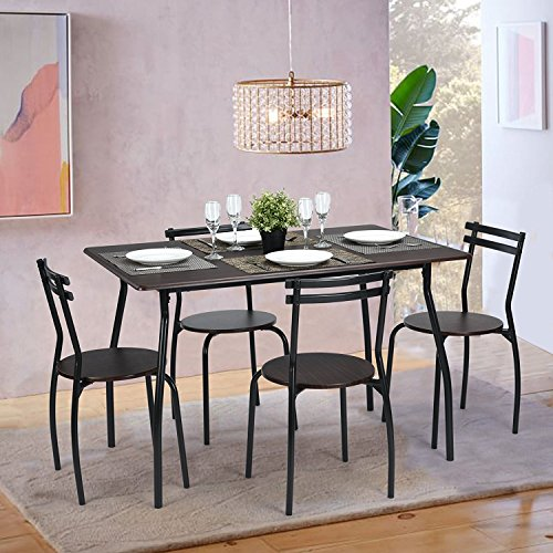 WOHOMO 5pcs Dinning Set Table with 4 Chairs, Beech Wood & Black Frame