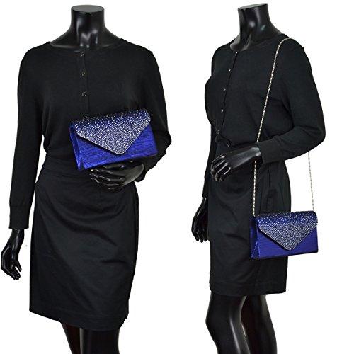 Crystal Bag Purse Glitter Sequin Clutch Party Womens Envelope Handbag Blue Evening Flap Rhinestone fqnwn8XRTa