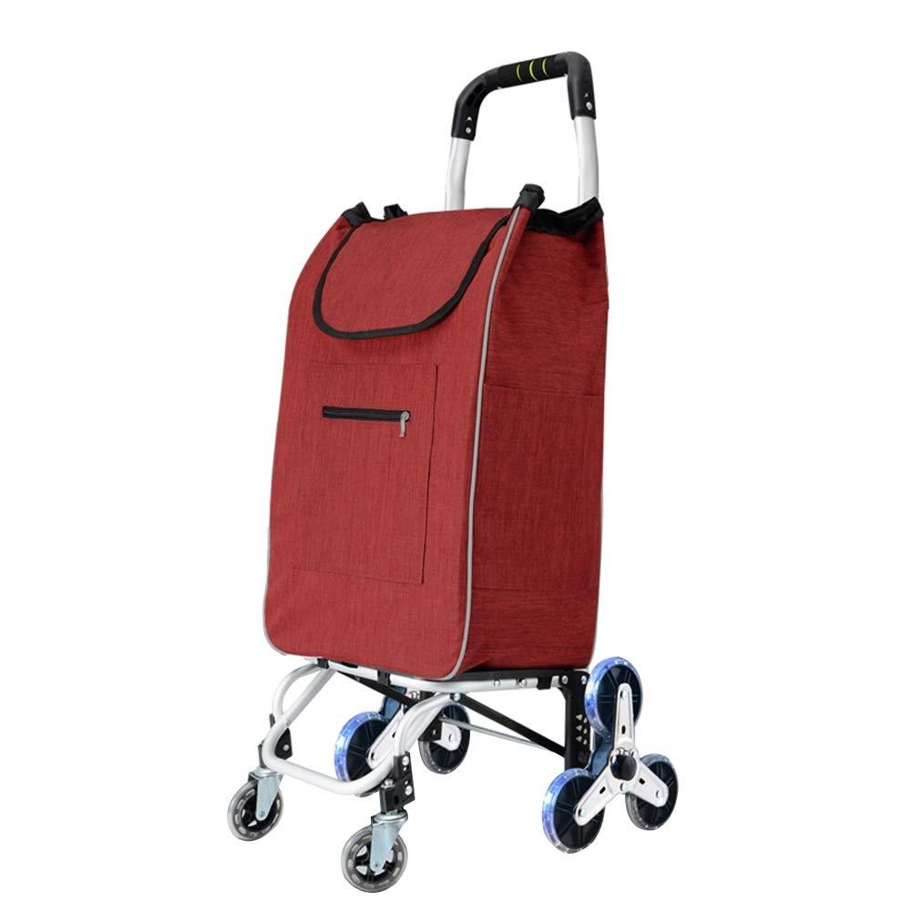 ZHAOHUI ショッピングカート アルミニウム合金 登る 折りたたみ可能 オックスフォード布 クリスタルホイール、 最大荷重は60kgです, 3色 (色 : Red) B07J5F6T1L Red