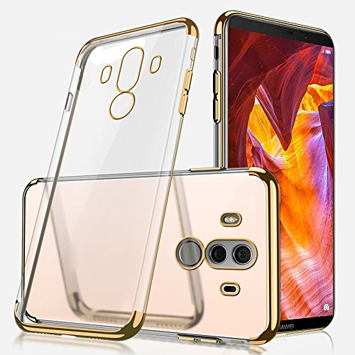 Huawei Mate 10 Pro Silicone Case,Huawei Mate 10 Pro Transparent Case Shockprrof,EUWLY Luxury Electroplating Crystal Clear Case Slim Fit Anti-shock Transparent Case Cover Silicone Soft Case Gel Rubber Gold