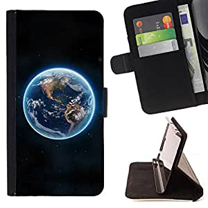 DEVIL CASE - FOR Samsung Galaxy Core Prime - Blue Planet Earth Continents View Space - Style PU Leather Case Wallet Flip Stand Flap Closure Cover