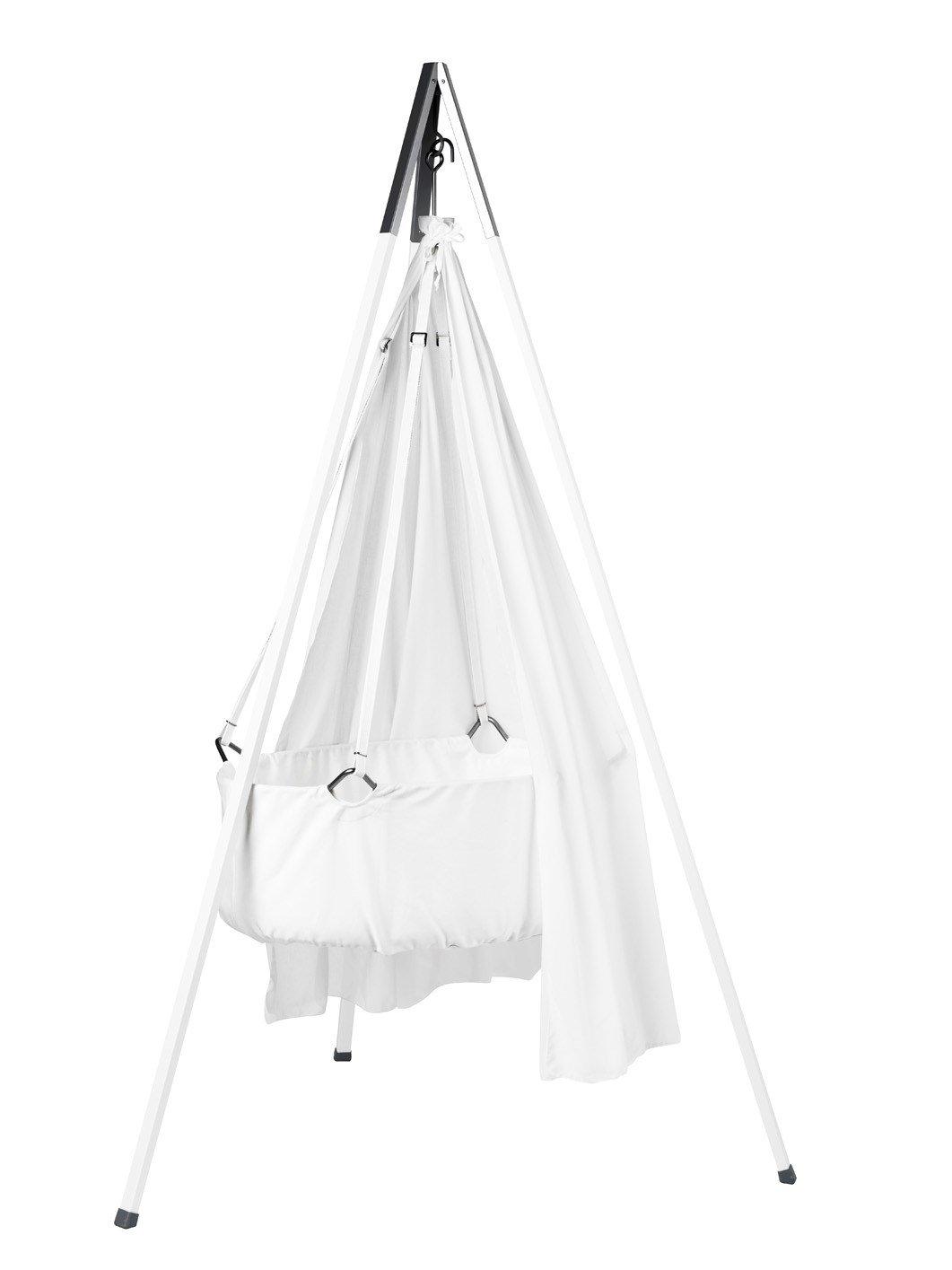 Leander Wiege - Babywiege weiß inkl. Matratze und Deckenhaken - mit Himmel (Schleier) weiß + Stativ weiß