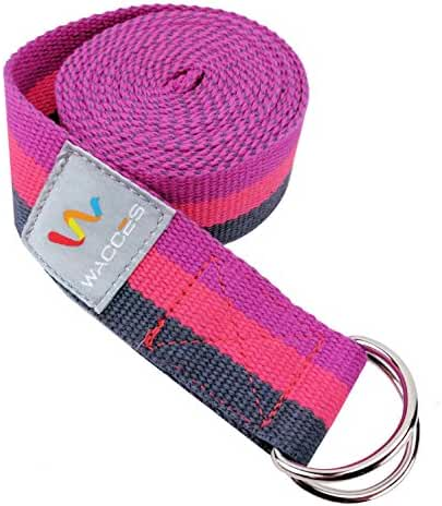 Wacces D-Ring Buckle Cotton Yoga Straps Bands - Best for Stretching