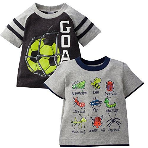 - Gerber Graduates Baby Boys' Toddler 2 Pack Short Sleeve Top, Goal/Bugs, 5T