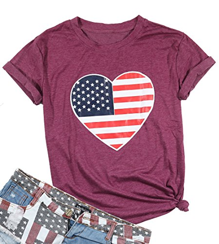 EGELEXY Summer Women Heart Shape American Flag Printed T-Shirt Female Casual Tops Tee Size L (Dark Red)