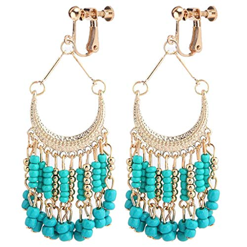 Bohemian Clip on Earrings for Girls Women Screw Back Clips Multi Tassel Green Beaded Moon Dangle