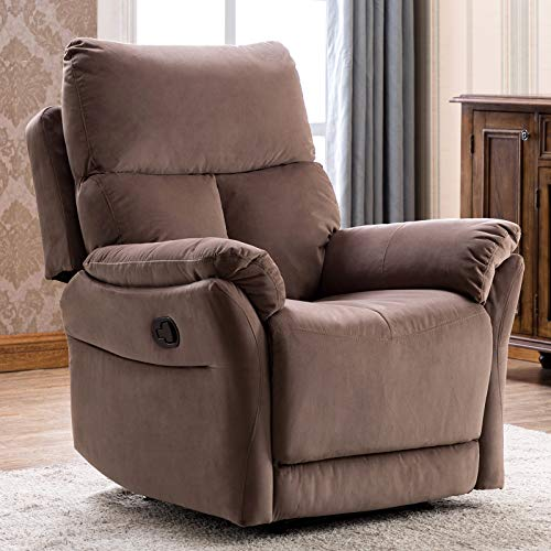 ANJ Manual Recliner, Living Room Reclining Chair Soft with Overstuffed Armrest and Back, Brown NOT Swivel (Boy Lazy Recliner)